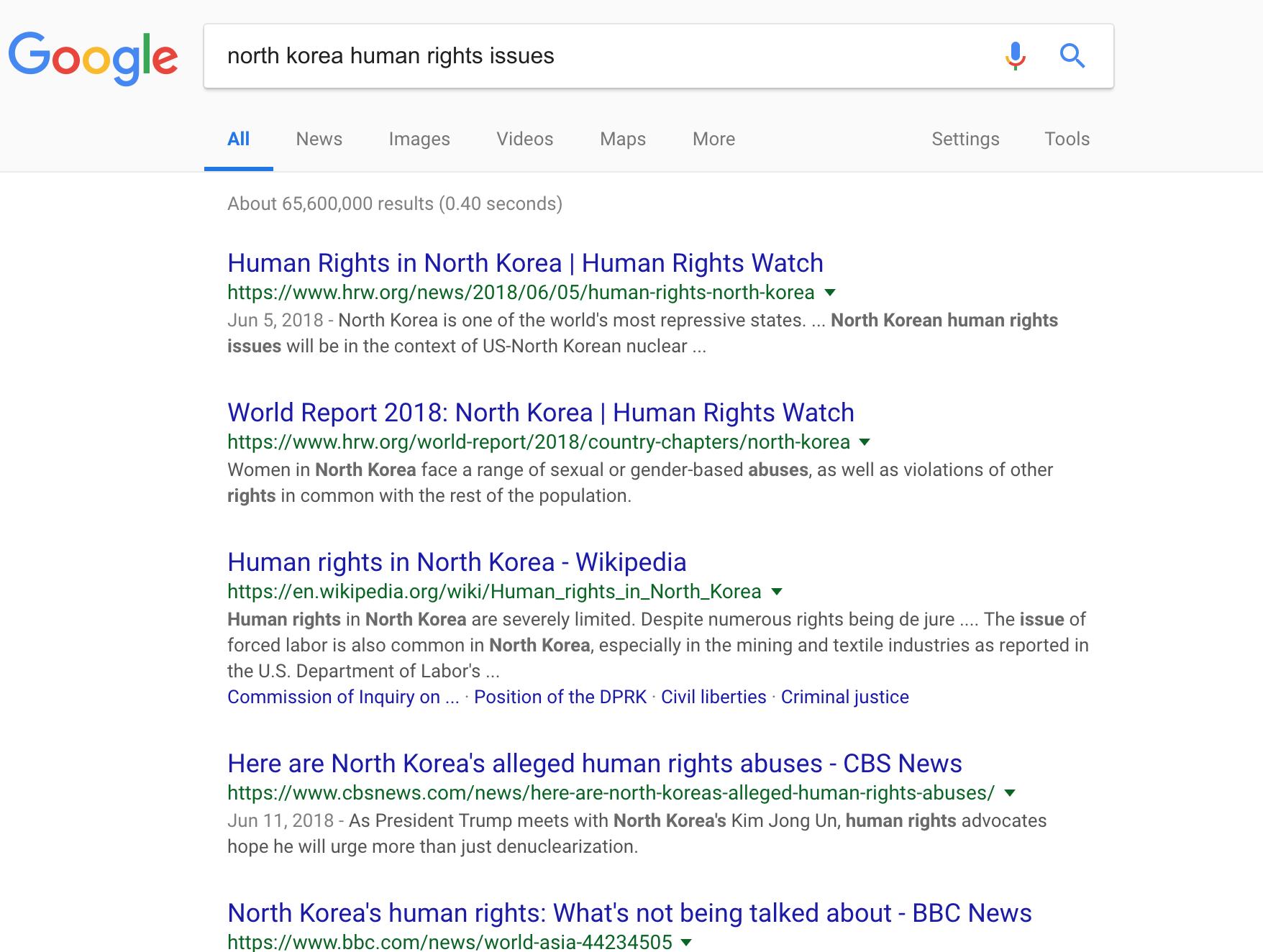 Google screenshot of north korea